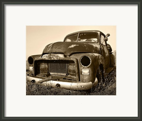 Rusty But Trusty Old Gmc Pickup Truck - Sepia Framed Print By Gordon Dean Ii
