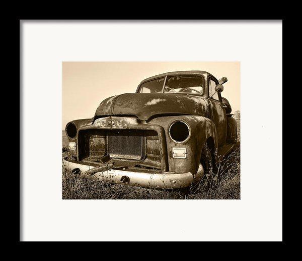 Rusty But Trusty Old Gmc Pickup Truck - Sepia Framed Print By Gordon Dean Ii