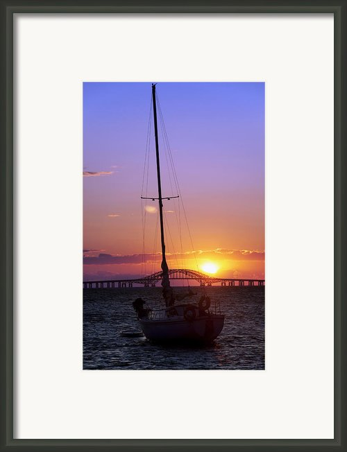 Sailboat And The Bridge At Sunrise Framed Print By Vicki Jauron