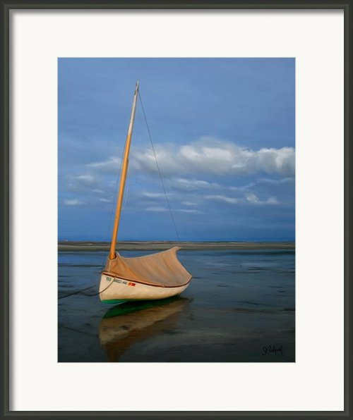 Sailboat At Lowtide Framed Print By Sue  Brehant