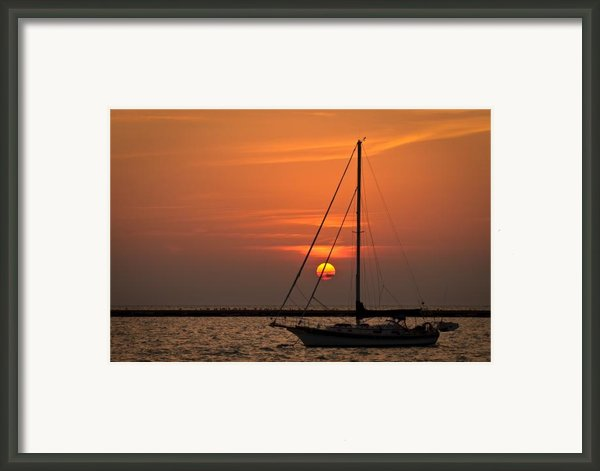 Sailboat Sunrise Chicago Framed Print By Steve Gadomski