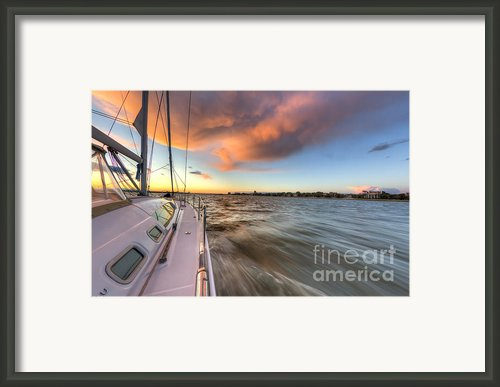 Sailboat Sunset Charleston Battery Framed Print By Dustin K Ryan