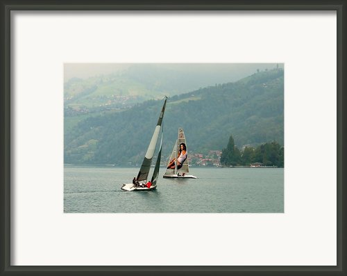 Sailing On Lake Thun Switzerland Framed Print By Marilyn Dunlap