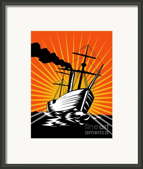 Sailing Ship Retro Woodcut Framed Print By Aloysius Patrimonio
