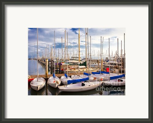 Sailoats Docked In Marina Framed Print By David Buffington