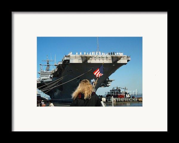 Sailors Aboard Aircraft Carrier Uss Framed Print By Stocktrek Images