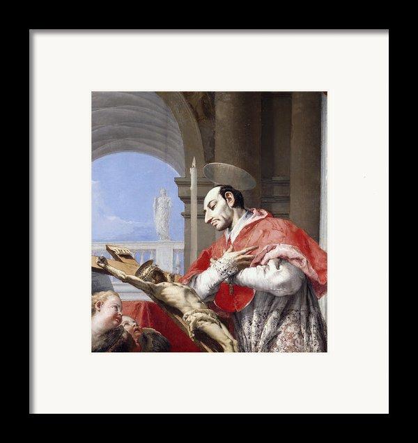Saint Charles Borromeo Framed Print By Giovanni Battista Tiepolo