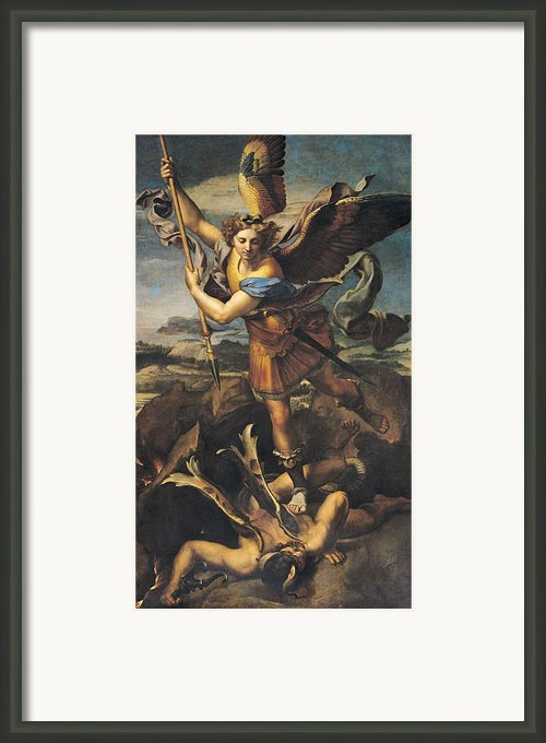 Saint Michael Overwhelming The Demon Framed Print By Raphael