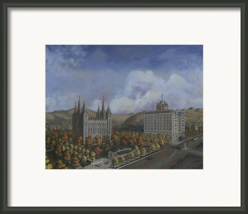 Salt Lake City Temple Square Nineteen Twelve Right Panel Framed Print By Jeff Brimley