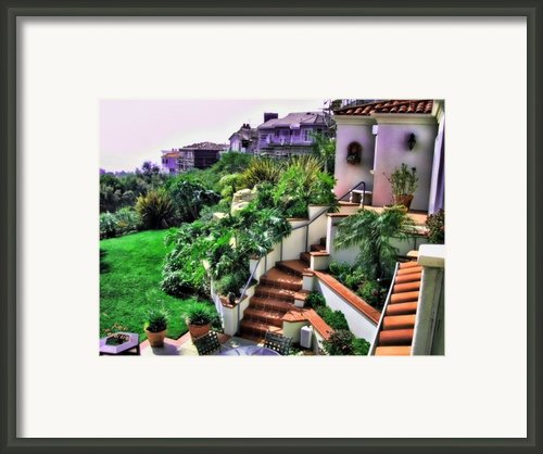San Clemente Estate Backyard Framed Print By Kathy Tarochione