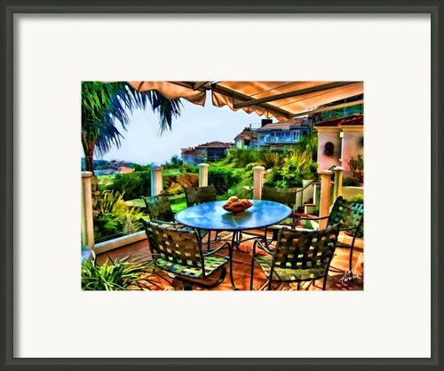 San Clemente Estate Patio 2 Framed Print By Kathy Tarochione