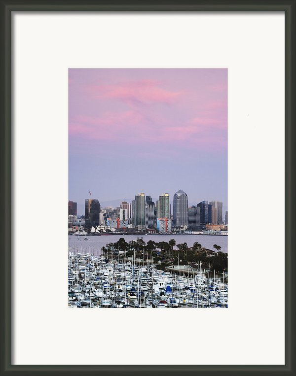 San Diego Skyline And Marina At Dusk Framed Print By Jeremy Woodhouse