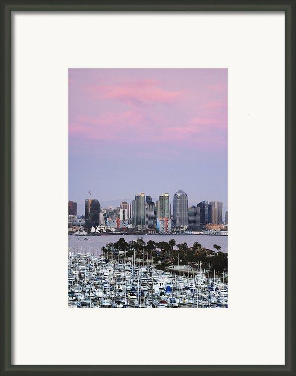 San Diego Skyline And Marina At Dusk Framed Print By Jeremy Woodhouse