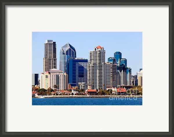 San Diego Skyline Photo Framed Print By Paul Velgos