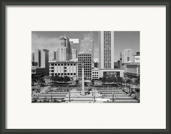 San Francisco - Union Square - 5d17938 - Black And White Framed Print By Wingsdomain Art And Photography