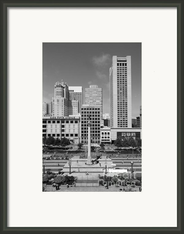 San Francisco - Union Square - 5d17941 - Black And White Framed Print By Wingsdomain Art And Photography
