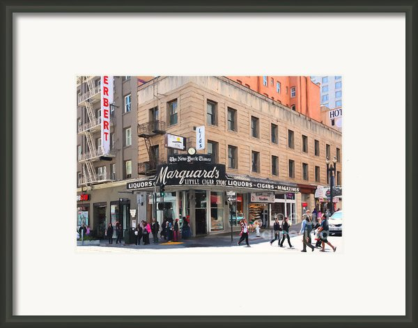 San Francisco Marquards Little Cigar Store On Powell Street - 5d17950 - Painterly Framed Print By Wingsdomain Art And Photography