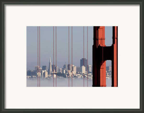 San Francisco Skyline From Golden Gate Bridge Framed Print By Mona T. Brooks