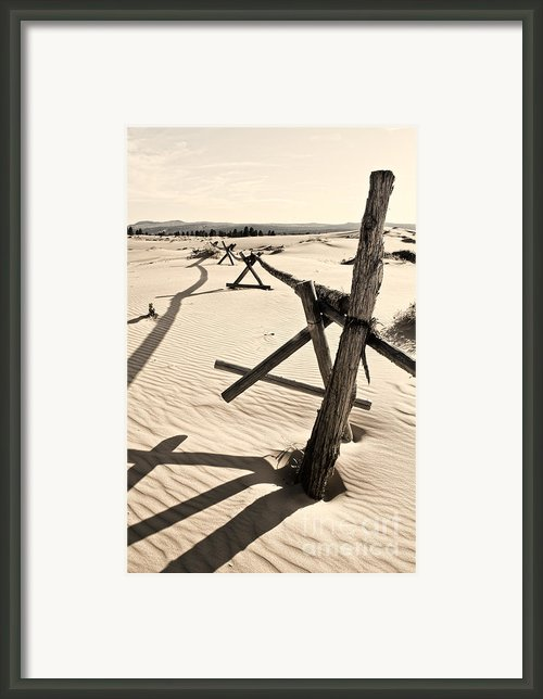 Sand And Fences Framed Print By Heather Applegate