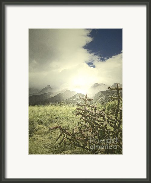 Sandia Mountains Fog Framed Print By Andrea Hazel Ihlefeld
