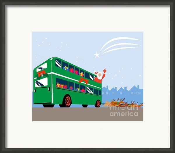 Santa Claus Double Decker Bus Framed Print By Aloysius Patrimonio