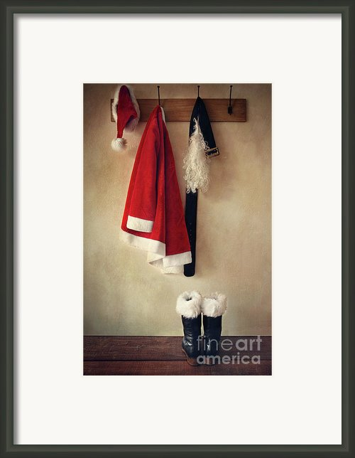 Santa Costume With Boots On Coathook Framed Print By Sandra Cunningham