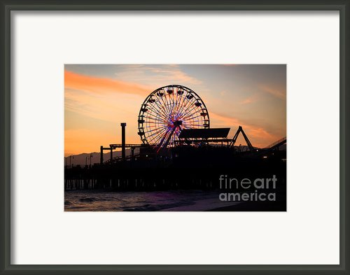 Santa Monica Pier Ferris Wheel Sunset Framed Print By Paul Velgos