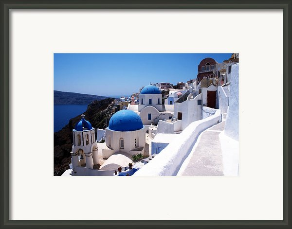Santorini Churches Framed Print By Paul Cowan