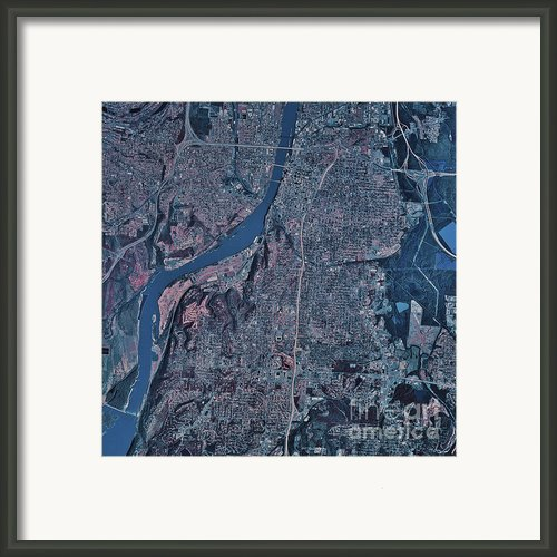 Satellite View Of Little Rock, Arkansas Framed Print By Stocktrek Images