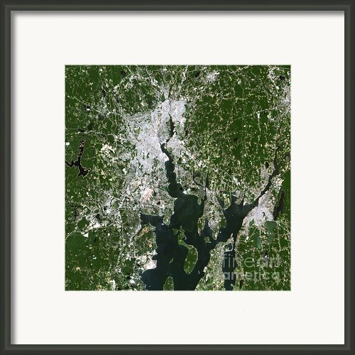 Satellite View Of The Pawtucket Framed Print By Stocktrek Images