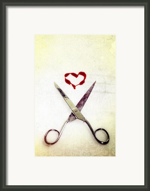 Scissors And Heart Framed Print By Joana Kruse