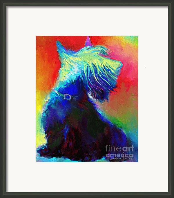 Scottish Terrier Dog Painting Framed Print By Svetlana Novikova