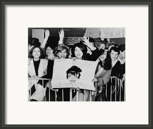 Screaming Teenagers Girls Wave A Crude Framed Print By Everett