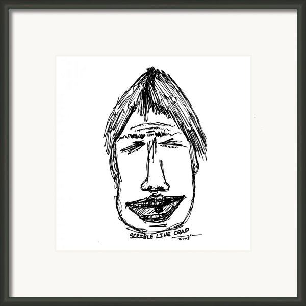 Scribble Line Face Framed Print By Karl Addison