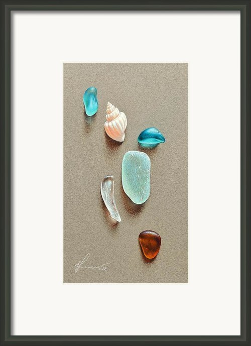 Seaglass Pieces Framed Print By Elena Kolotusha