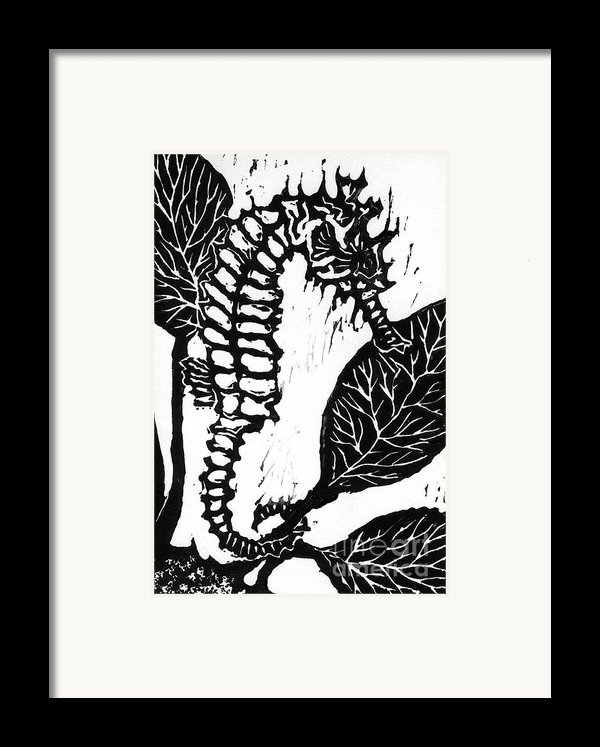 Seahorse Block Print Framed Print By Ellen Miffitt