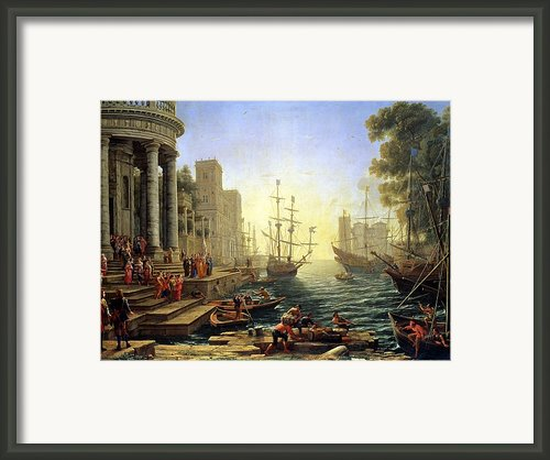 Seaport With The Embarkation Of Saint Ursula  Framed Print By Claude Lorrain