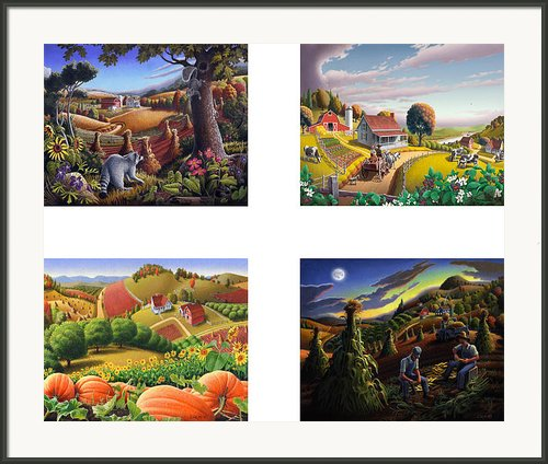 Seasonal Farm Country Folk Art-set Of 4 Farms Prints Amricana American Americana Print Series Framed Print By Walt Curlee