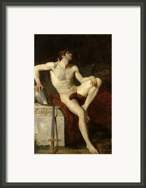 Seated Gladiator Framed Print By Jean Germain Drouais