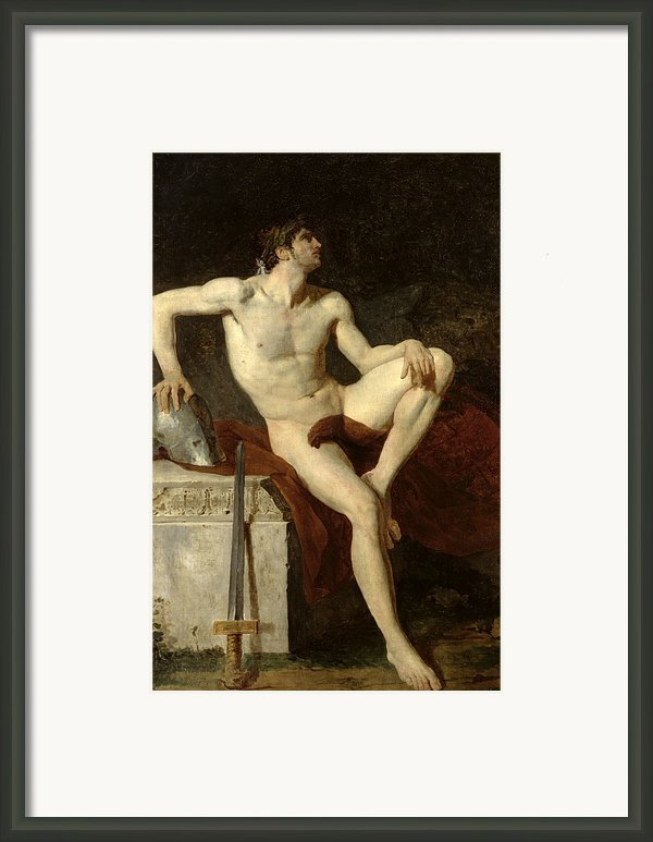 Seated Gladiator Framed Print By Jean Germain Drouais