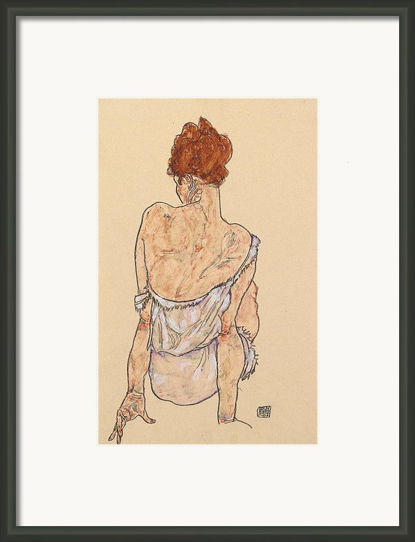 Seated Woman In Underwear Framed Print By Egon Schiele