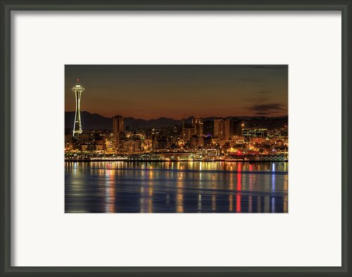 Seattle Downtown Skyline From Alki Beach Dawn Framed Print By David Gn Photography