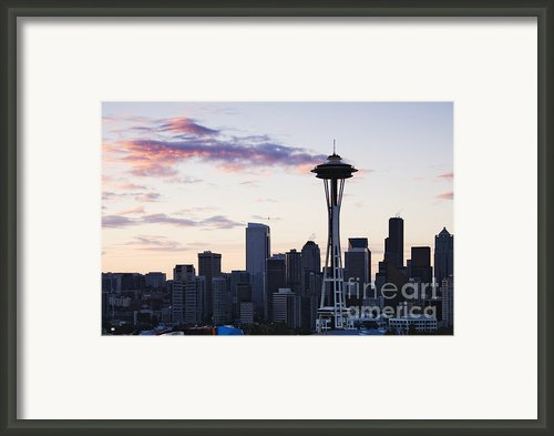 Seattle Skyline At Dusk Framed Print By Jeremy Woodhouse