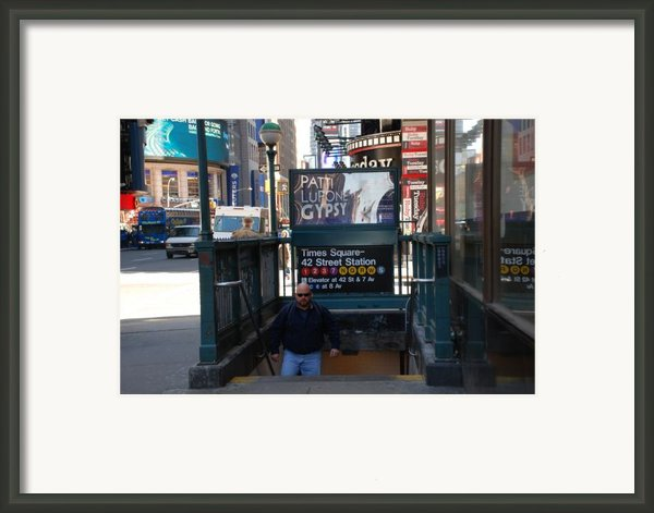 Self At Subway Stairs Framed Print By Rob Hans