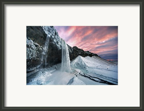 Seljalandsfoss Sunset Framed Print By Traumlichtfabrik