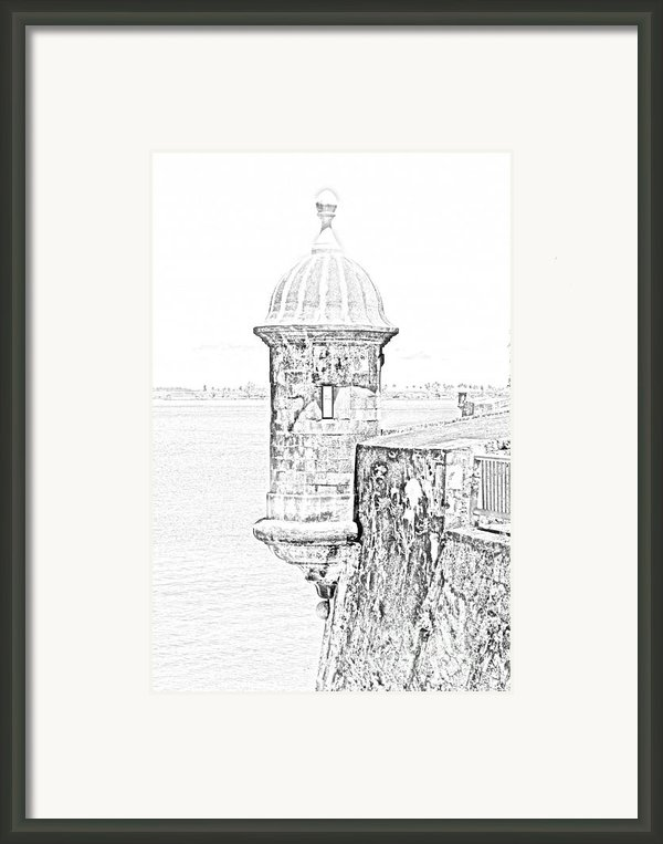 Sentry Tower Castillo San Felipe Del Morro Fortress San Juan Puerto Rico Line Art Black And White Framed Print By Shawn Obrien