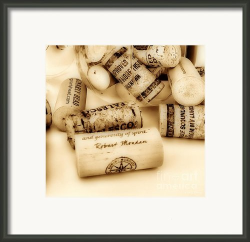 Sepia Corks Framed Print By Cheryl Young