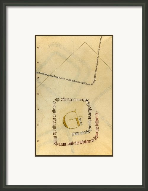 Serenity Prayer Ii Framed Print By Judy Dodds