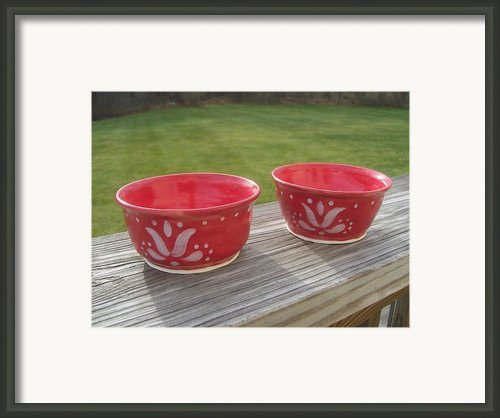 Set Of Small Red Bowls Framed Print By Monika Hood