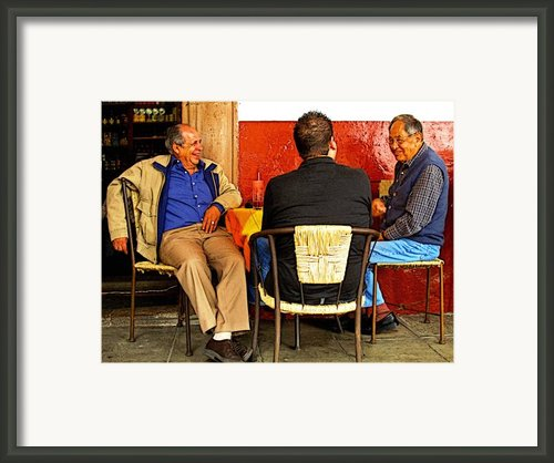 Sharing A Joke Over Coffee Framed Print By Olden Mexico